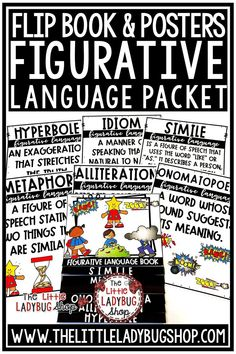 You will love this Figurative Language Activities Flip Book and Posters for your 3rd Grade, 4th Grade, 5th Grade students. This is perfect for assisting in teaching this skill to your students in a fun and interactive way! These figurative language posters and activities are great for your third grade, fourth grade and home school classrooms #figurativelanguageactivities #figurativelanguage