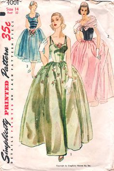 Simplicity 4001 1950s Misses Evening Dress Gown with detachable overskirt and wrap scarf womens vintage sewing pattern  by mbchills