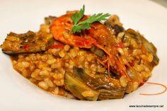 La cuina de sempre: Cassola d'arròs amb gambes i carxofes