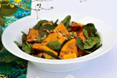 Roast pumpkin & spinach salad with honey balsamic dressing. This simple salad with sweet and tasty dressing will have your guests coming back for seconds. Pumpkin And Feta Salad, Roast Pumpkin Salad, Tiphero Recipes, Honey Balsamic Dressing, Honey Dressing, Cooking Recipes, Healthy Recipes, Savoury Recipes, Salad Recipes