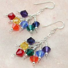 Swarovski Chakra Rainbow Handmade Earrings Sterling Cluster Zen