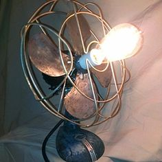 """Vintage Steam Punk  Upcycled Antique """"Arctic Air"""" Fan Lamp"""