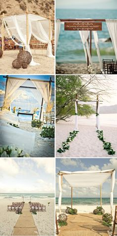 fabric beach wedding arch.  simple decorations for on the beach also.