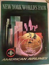 New York 1964 Worlds Fair American Airline Vintage Poster original