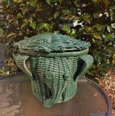 Wicker Elephant Basket with Lid, Hand Woven Green Elephant Basket, Animal Basket