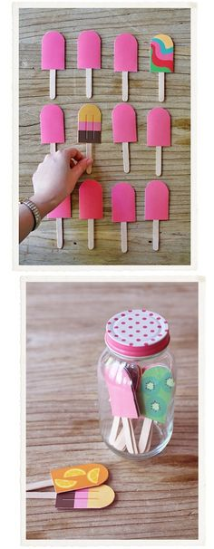 Fun memory game..popsicles. I used this idea for a Christmas gift for my 3 year old niece although I didn't use popsicle shapes. Just different scrapbook paper prints on one side and laminated with contact paper. - Click image to find more Kids Pinterest pins