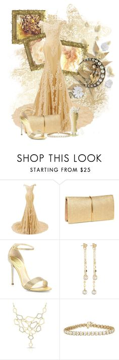 """""""Golden Cadillac"""" by arisa-nightingale ❤ liked on Polyvore featuring Nina Ricci, René Caovilla and Fragments"""