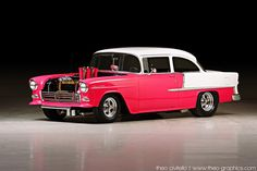 "1955 Chevrolet 210 - The ""Hot Rod""  Love the car, BUT, who paints it pink?"