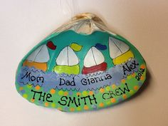 Personalized Sailboat Seashell Ornament by LazyHoundWorkshop, $8.00