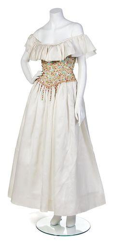 boho princess...; 1970's Oscar de la Renta Ivory Organdy Evening Gown w/ beautifully beaded & embroidered bodice