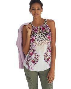 308fed28773995 Mixed Print Halter Top - White House | Black Market Pink Cheetah, Leopard  Print Top