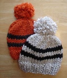 This spirited miniature knit hat pattern is the perfect sporting event accessory for your tiniest fan. The Go Team Toddler Hat is a classic rugby stripes hat with a cute little pom-pom on the top.