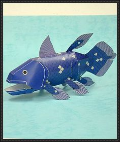 Animal Paper Model – Coelacanth Free Papercraft Download | PaperCraftSquare.com
