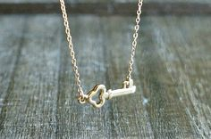 Sideways Gold Key Necklace ... Skeleton Key Pendant on a Gold Filled Chain ...  golden key to my heart jewelry