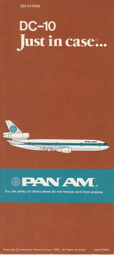 Pan Am Safety Card Just in case. Travel Ads, Airline Travel, Poster Retro, Vintage Travel Posters, Vintage Airline, Vintage Cars, Pan Am, Vintage Advertisements, Just In Case