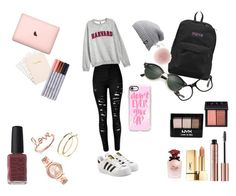"""School vibes"" by itsronixo on Polyvore featuring H&M, adidas Originals, JanSport, Ray-Ban, The North Face, NARS Cosmetics, Sydney Evan, Pieces, NYX and Dolce&Gabbana"