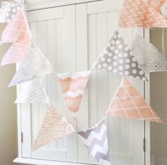 21 Fabric Flag Bunting, 9 Feet Party Banner, Nectarine, Soft Peach, Grey and White, Wedding Decor, Photo Prop, Baby Nursery Decor