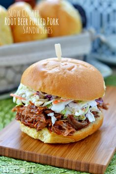Slow Cooker Root Beer Pulled Pork Sandwiches - simple and delicious!