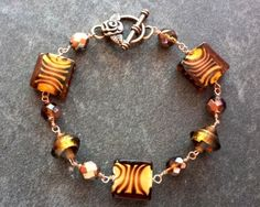 Tiger Wild Bracelet-Tiger Stripe Glass Beads-Vintage Glass Beads-Antiqued Copper-Copper Wire Wrapped-One of a Kind-Vintage Inspried-Vegan by WaterRhythmGems on Etsy