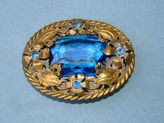 1930s Gold Metal Vintage Brooch Decorated with by BiminiCricket, $85.00