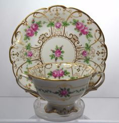 Antique c1887-1915 Dresden Porcelain Twin-Handled Cup & Saucer Ambrosius Lamm #CupsSaucers
