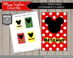 INSTANT DOWNLOAD Mickey Mouse Inspired Condiment Labels by DivinePartyDesign, $1.50. Perfect for a Hot Dog Bar at your Mickey themed party!
