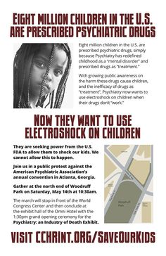 Watchdog group protests annual #Psychiatric Convention...electoshocking children http://www.naturalnews.com/054008_electroshock_therapy_children_CCHR_protest.html?a_aid=carlwattsartist #KnowledgeIsPower!#AwesomeTeam☮