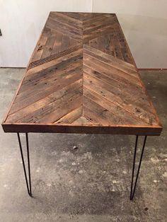 Reclaimed Barn Wood Table w/ Steel Hairpin Legs Barn Wood Crafts, Barn Wood Projects, Reclaimed Wood Projects, Reclaimed Wood Furniture, Industrial Furniture, Repurposed Wood, Pipe Furniture, Old Wood Table, Old Barn Wood