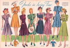 Tuppence Ha'penny: {Style Inspiration} From Woman's Sphere magazine, April 1941 1930s Fashion, Retro Fashion, Vintage Fashion, Fast Fashion, Blouse Vintage, Vintage Dresses, Vintage Outfits, Skirt Patterns Sewing, Vintage Sewing Patterns