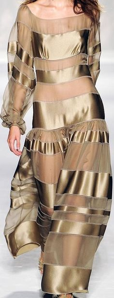 gold sheer dress with satin stripes
