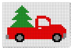 Crochet Pickup Truck Tree Pillow - Repeat Crafter Me Crochet Christmas Trees, Holiday Crochet, Christmas Cross, Plastic Canvas Christmas, Plastic Canvas Crafts, Plastic Canvas Patterns, Cross Stitch Designs, Cross Stitch Patterns, Crochet Patterns