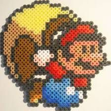 Handmade Mario with cape in perler beads by PerlPop on Etsy