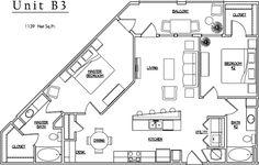 Unit B3 - 2 BR, 2 BA - 1139 Net Sq.Ft.