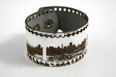 Film negative strip leather cuff with San Francisco skyline photos by RockBodyLeather, $30.00