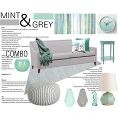 Color-Combo. Mint-Grey. Living-Room. by theartbug-home on Polyvore featuring interior, interiors, interior design, home, home decor, interior decorating, Calypso St. Barth, Arteriors, Kennebunk Home and Leftbank Art