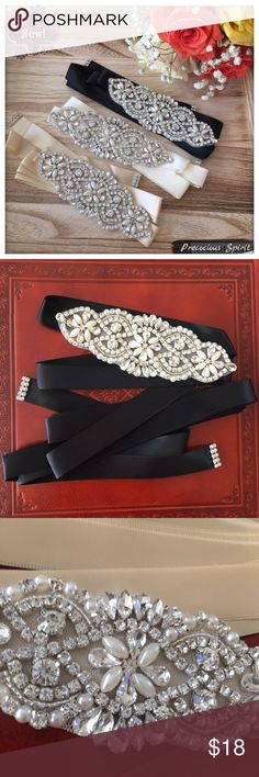Formal ribbon rhinestone crystal gem sash belt New! Features: high quality Formal ribbon rhinestone crystal gem sash belt in three different colors: black, cream (off-white), and ivory. Rhinestone and faux pearl designs! Long ribbon fits all sizes! Great for bridal wedding, prom, homecoming, or evening dress! Accessories Belts