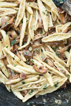 Pasta with chanterelles and sunflower cream Mad Cook, Vegan Recipes, Vegan Meals, Dairy Free, Nom Nom, Avocado, Spaghetti, Yummy Food, Lunch