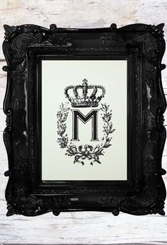 at my store….  Great for a Gift table at a wedding, or a housewarming gift this one has been very popular…  Crown Monogram Custom Art Print by LADYBIRDINK on Etsy