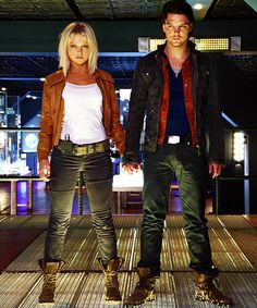 Abby and Connor from Primeval. I love these two. :) And I love that they're engaged in real life. :) too adorable!