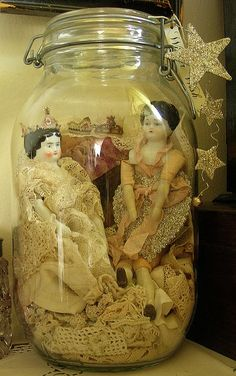 vintage-looking dolls and old lace