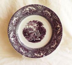 "Original Antique Cotton & Barlow Purple Medina Transferware 9 5/8"" Plate c 1850"