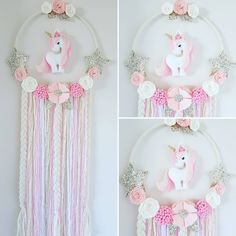 Unicorn Dream Catcher In Pinks white and gold I think this one is my favourite hanging unicorn so far unicorn unicorndecor… Unicorn Wall Art, Unicorn Rooms, Unicorn Bedroom, Felt Crafts, Diy And Crafts, Crafts For Kids, Arts And Crafts, Unicorn Birthday Parties, Unicorn Party