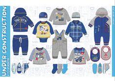 baby, babywear, boys, boyswear, children, kids, construction, digger, mixer, dump truck