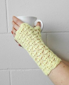 Fingerless gloves yellow arm warmers wrist warmers by MadeByKirsti