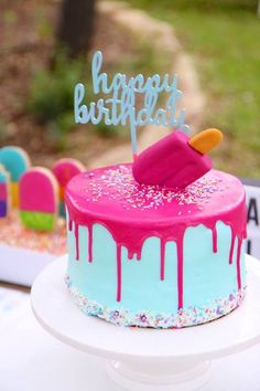 """Popsicle Drip Cake from a """"Two Cool"""" Popsicle Themed Birthday Party Girl Birthday Themes, Barbie Birthday, Cool Birthday Ideas, 3rd Birthday, Fete Emma, Pool Party Cakes, Cupcake Party, Popsicle Party, Summer Cakes"""