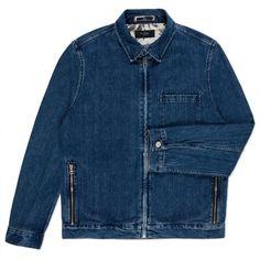 Paul Smith Men's Jackets | Mid-Wash Zip-Front Denim Trucker Jacket