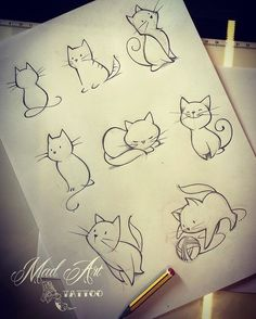 70 Ideas Tattoo Cat Drawing Tatoo For 2019 Inkstincts of a cat. Cat designs for girls room Search inspiration for a Minimal tattoo. Learn To Draw People - The Female Body - Drawing On Demand Cats Are Nocturnal great inspiration for my tracker journal as w Tattoo Sketches, Drawing Sketches, Drawing Tips, Tattoo Drawings, Drawing Tutorials, Drawing Ideas Kids, Cat Drawing Tutorial, Doodle Art, Cat Doodle