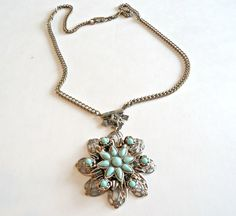 Vintage Faux Turquoise Pendant Necklace 1970's by TreasureCoveAlly on Etsy