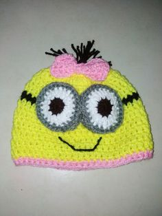 Minion girl crochet hat / Gorro de Minion niña en crochet
