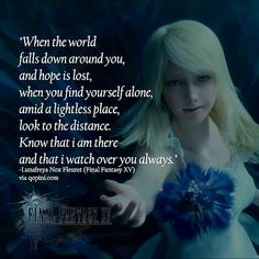 Lunafreya is one of the most beautiful and courageous characters I've ever seen Final Fantasy Xv, Final Fantasy Artwork, Fantasy Series, Kingdom Hearts Quotes, Noctis And Luna, Insomnia Cures, Playstation Games, Falling Down, New Words